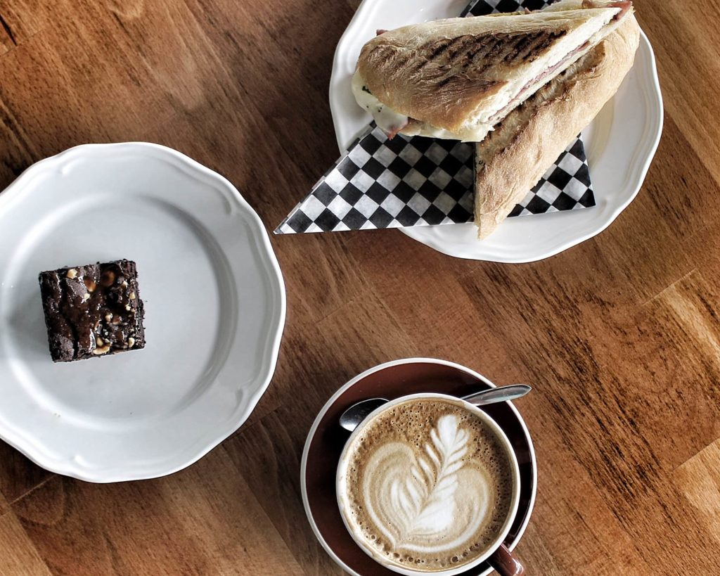 A Latte baguette and chocolate brownie at platform 7 cafe