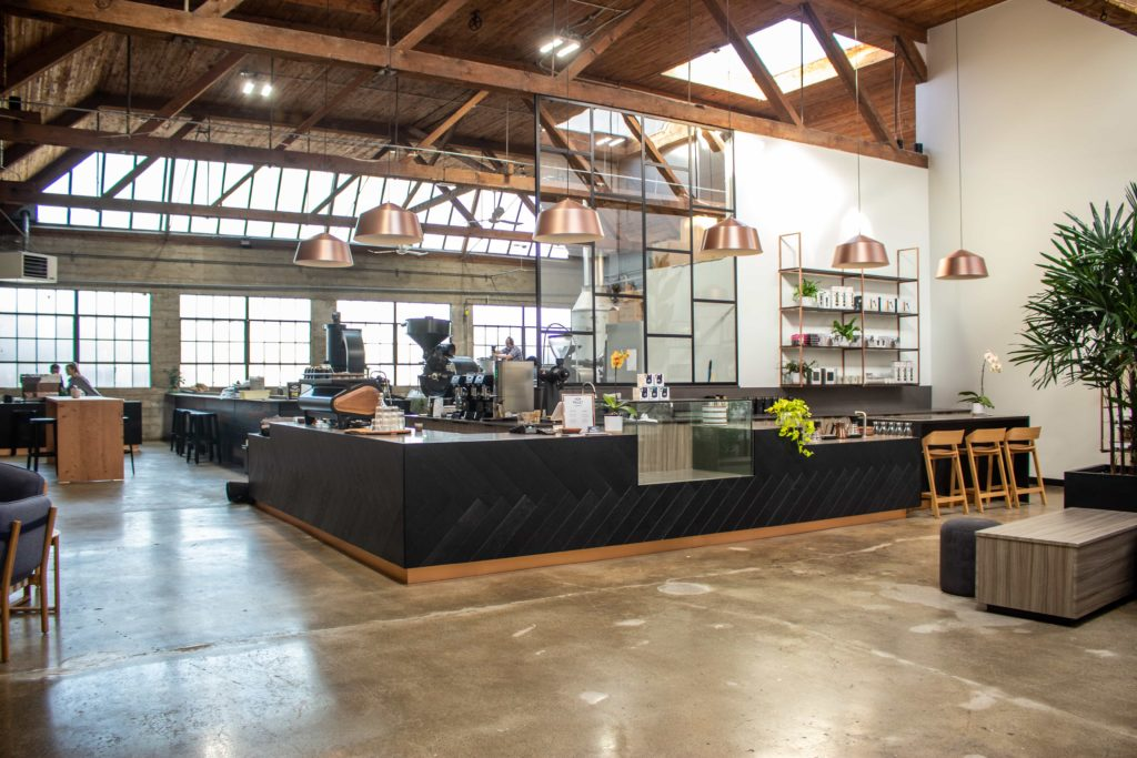 The bar at Pallet Coffee Roasters HQ